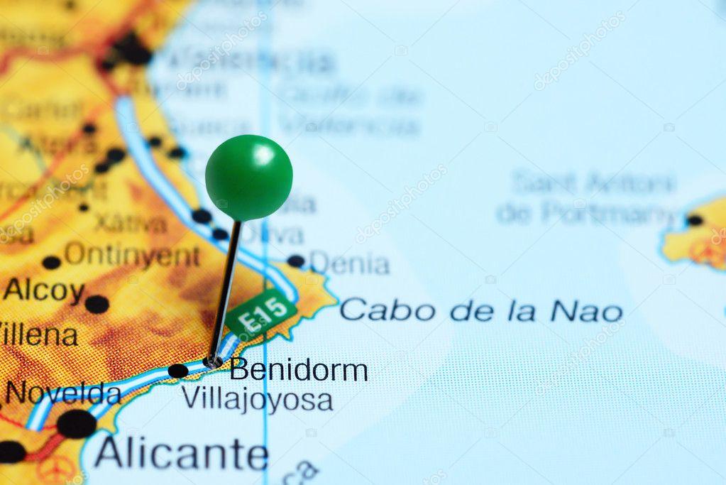 Map Of Spain Benidorm.Benidorm Pinned On A Map Of Spain Stock Photo C Dk Photos 113305146