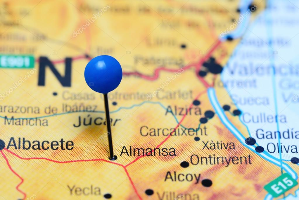 Map Of Yecla Spain.Almansa Pinned On A Map Of Spain Stock Photo C Dk Photos 113305232