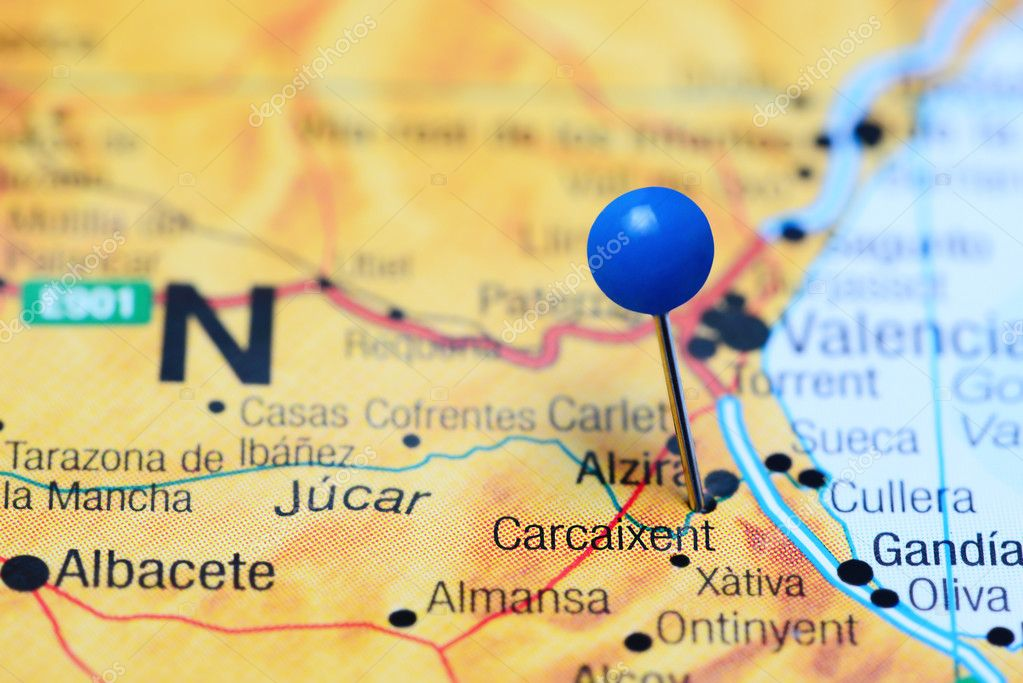 Map Of Xativa Spain.Carcaixent Pinned On A Map Of Spain Stock Photo C Dk Photos 113305636