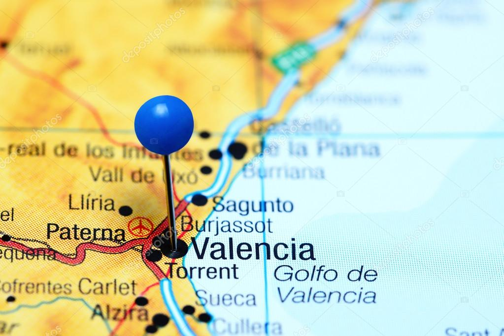 Valencia Map Of Spain.Valencia Pinned On A Map Of Spain Stock Photo C Dk Photos 113414802