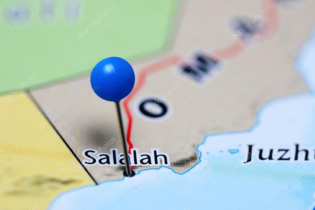 Karte Oman Salalah.Fixiert Auf Einer Karte Von Oman Salalah Stockfoto