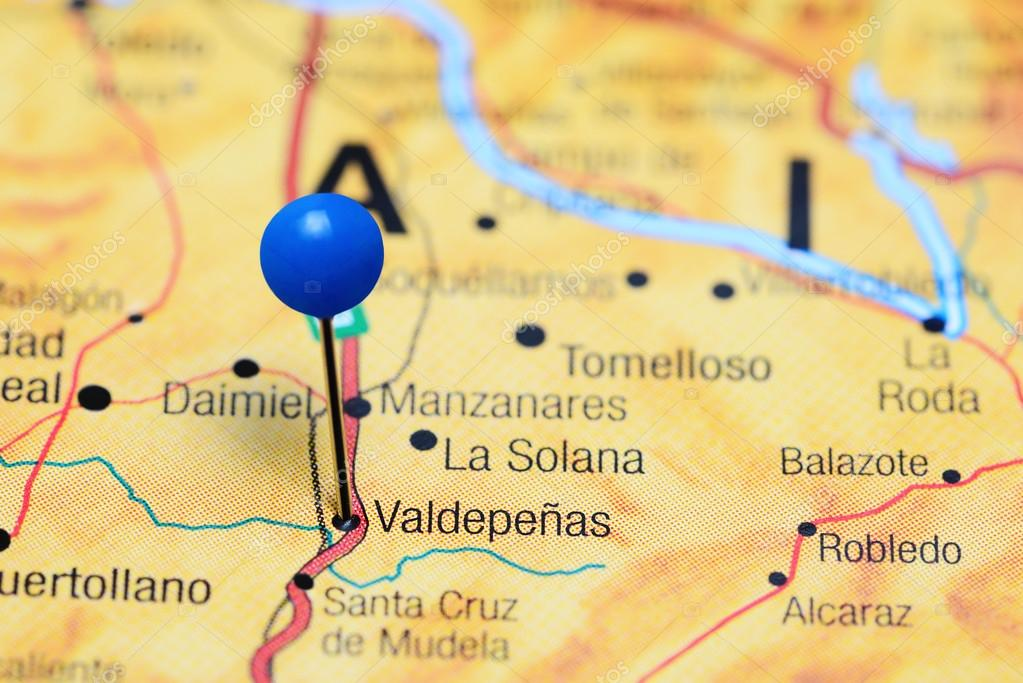 Valdepenas Pinned On A Map Of Spain Stock Photo C Dk Photos 113559856