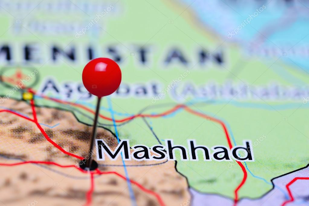 Mashhad pinned on a map of Iran Stock Photo dkphotos 113599544