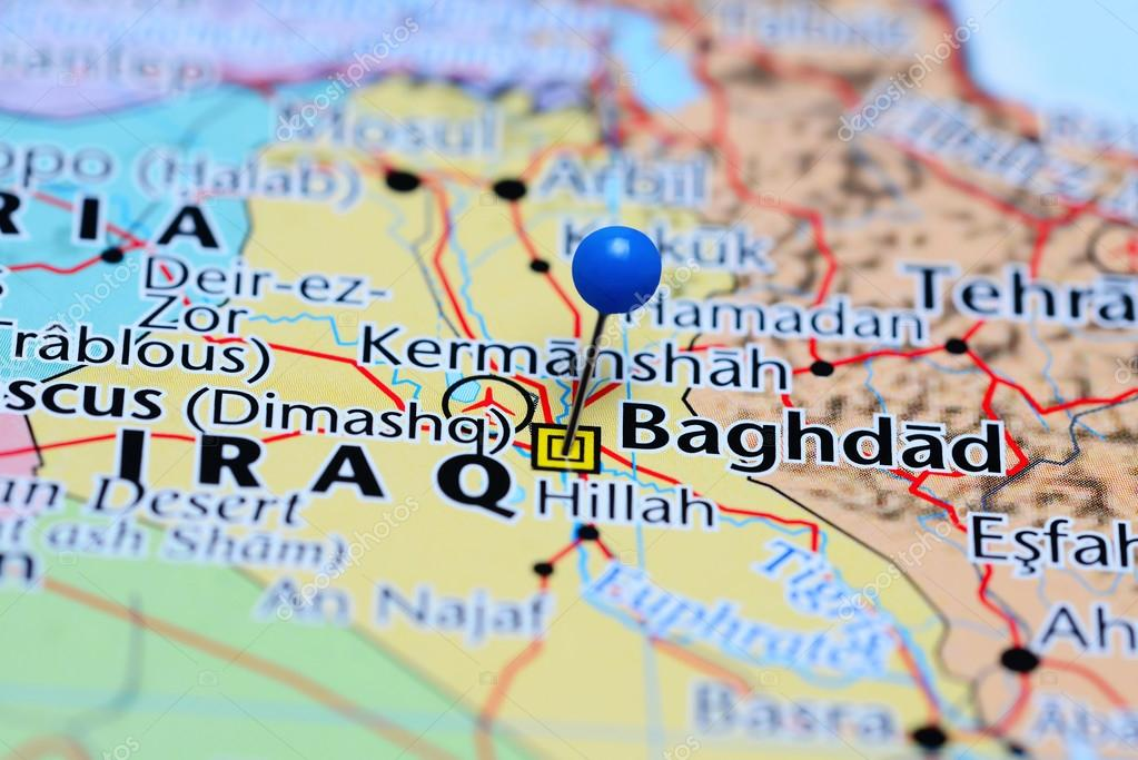 Baghdad pinned on a map of Iraq — Stock Photo © dk_photos #113599554