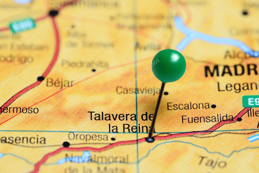 Talavera Dela Reina Mapa.Talavera De La Reina Pinned On A Map Of Spain Stock Photo