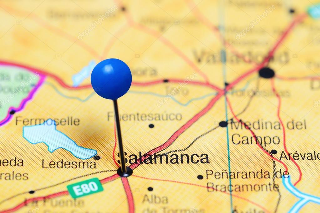 Salamanca Spanien Karte.Salamanca Fixiert Auf Einer Karte Von Spanien Stockfoto