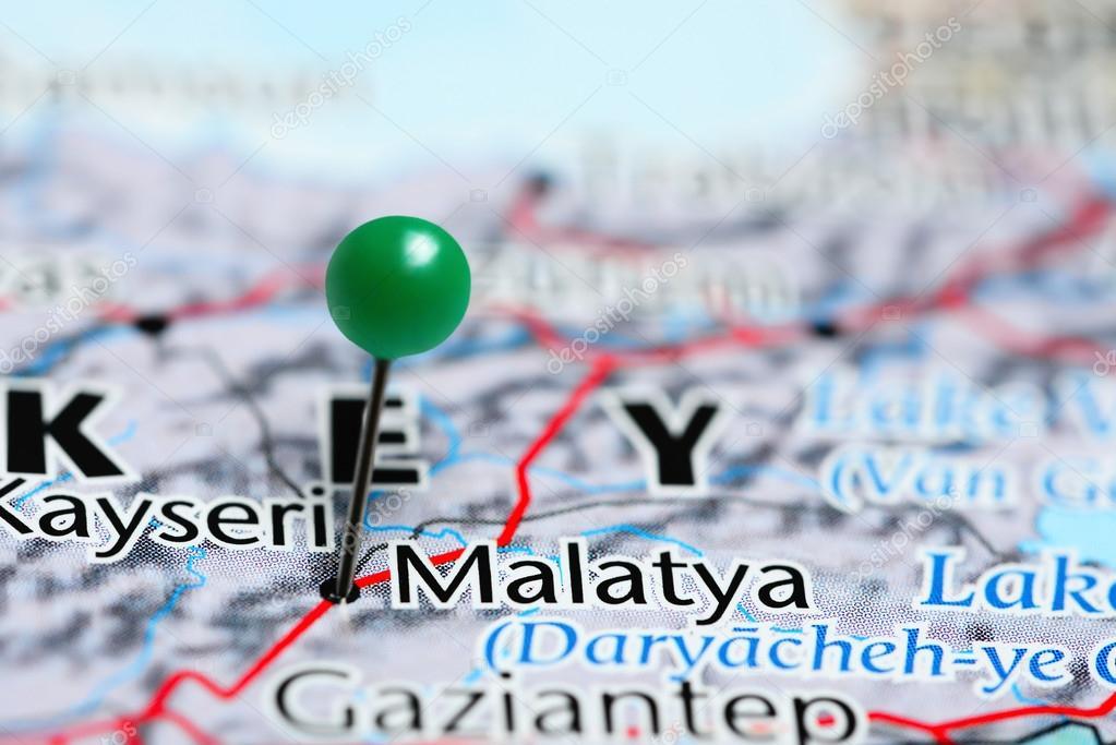 Malatya pinned on a map of Turkey Stock Photo dkphotos 113721410