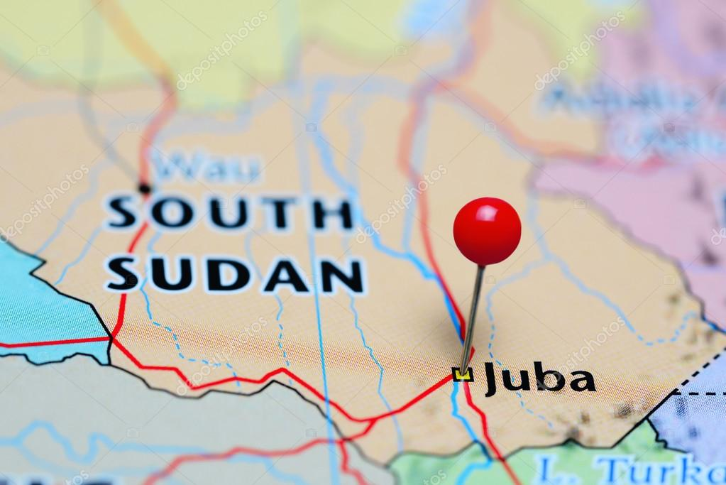 Juba pinned on a map of South Sudan Stock Photo dkphotos 113887438