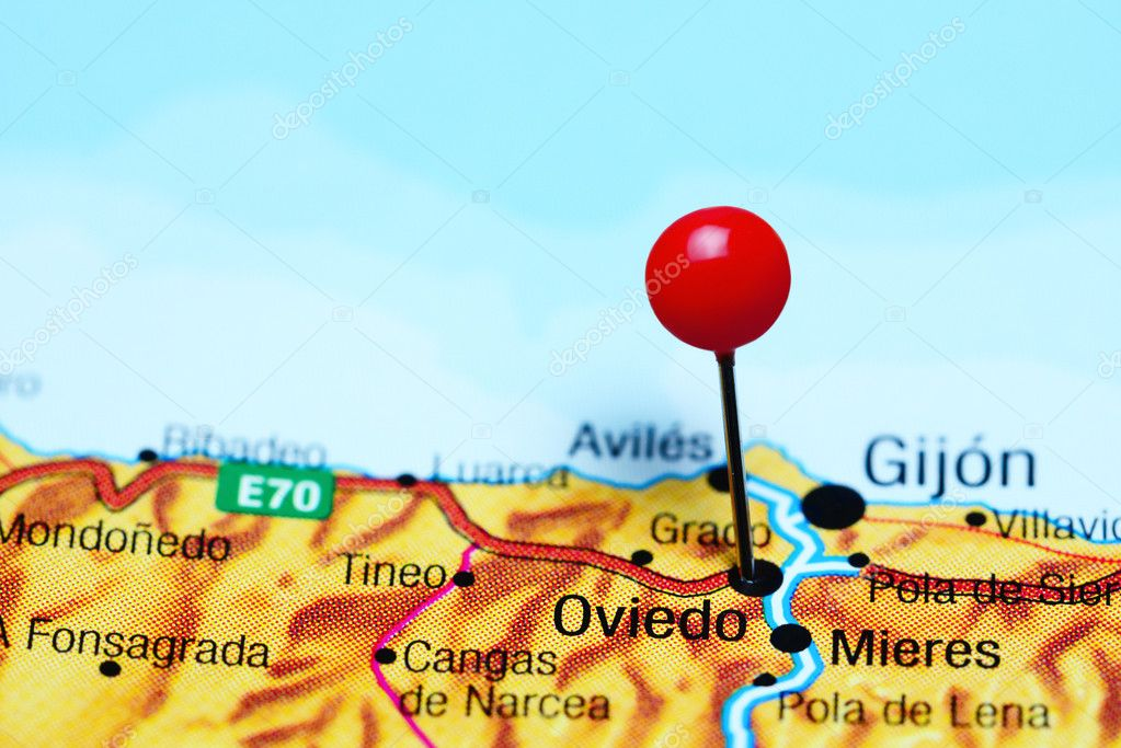Oviedo Pinned On A Map Of Spain Stock Photo C Dk Photos 114288668