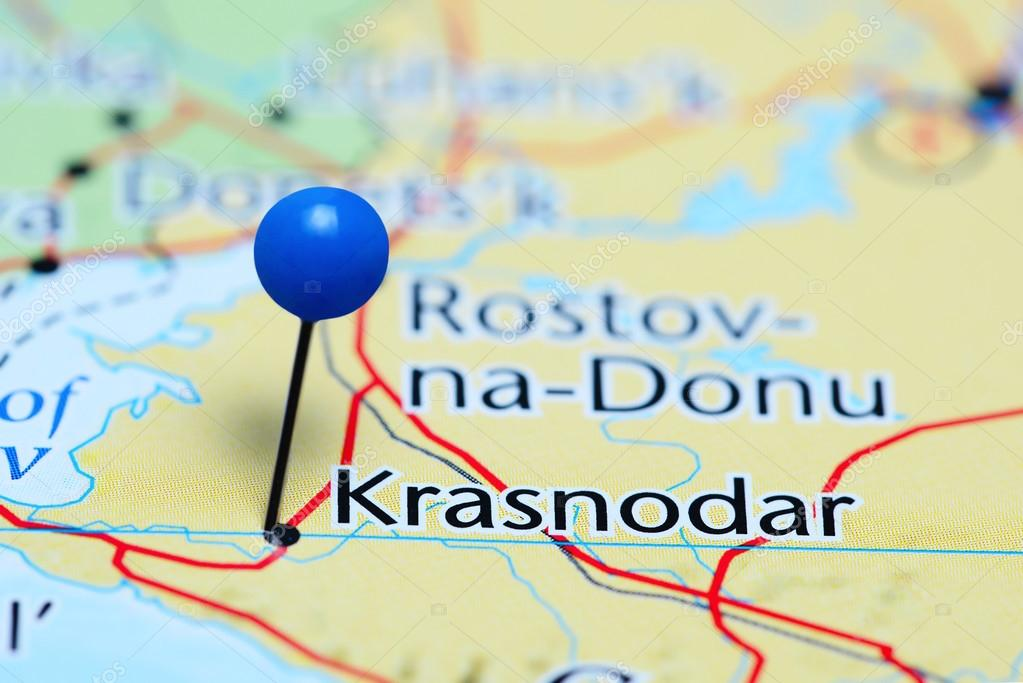 Krasnodar Pinned On A Map Of Russia Stock Photo C Dk Photos 114572424