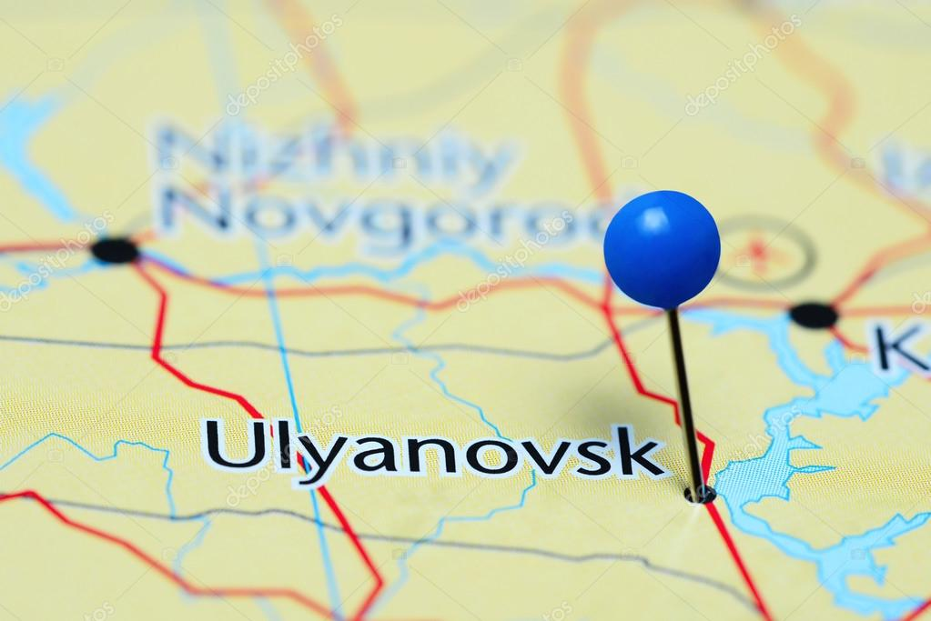 Ulyanovsk pinned on a map of Russia Stock Photo dkphotos 114572522