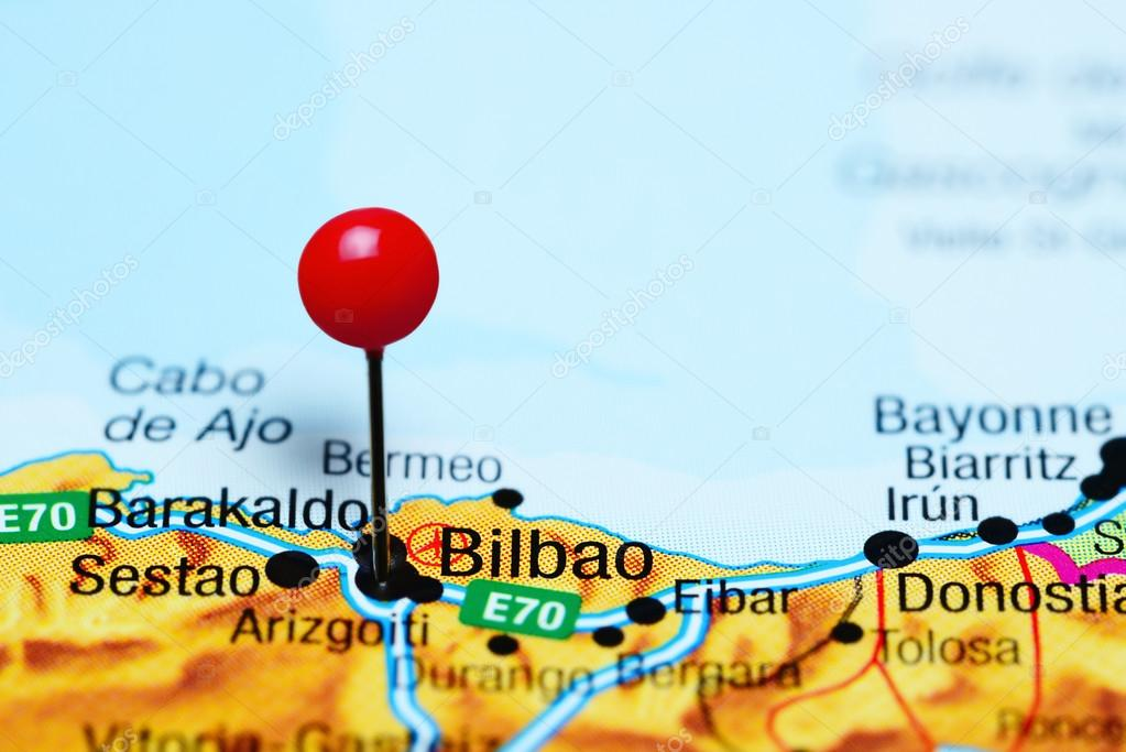 Bilbao On Map Of Spain.Bilbao Pinned On A Map Of Spain Stock Photo C Dk Photos 114602184