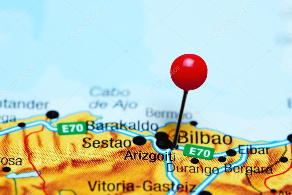 Map Of Spain Eibar.Arizgoiti Pinned On A Map Of Spain Stock Photo C Dk Photos 114602216