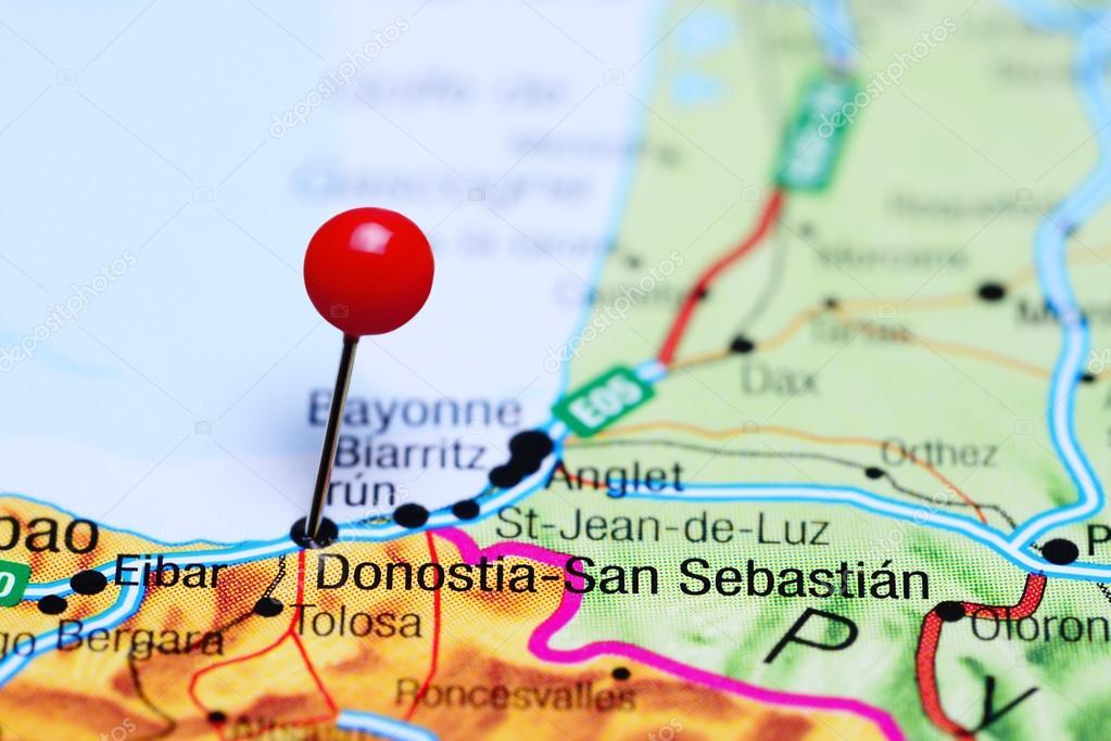 San Sebastian España Mapa.Donostia San Sebastian Pinned On A Map Of Spain Stock