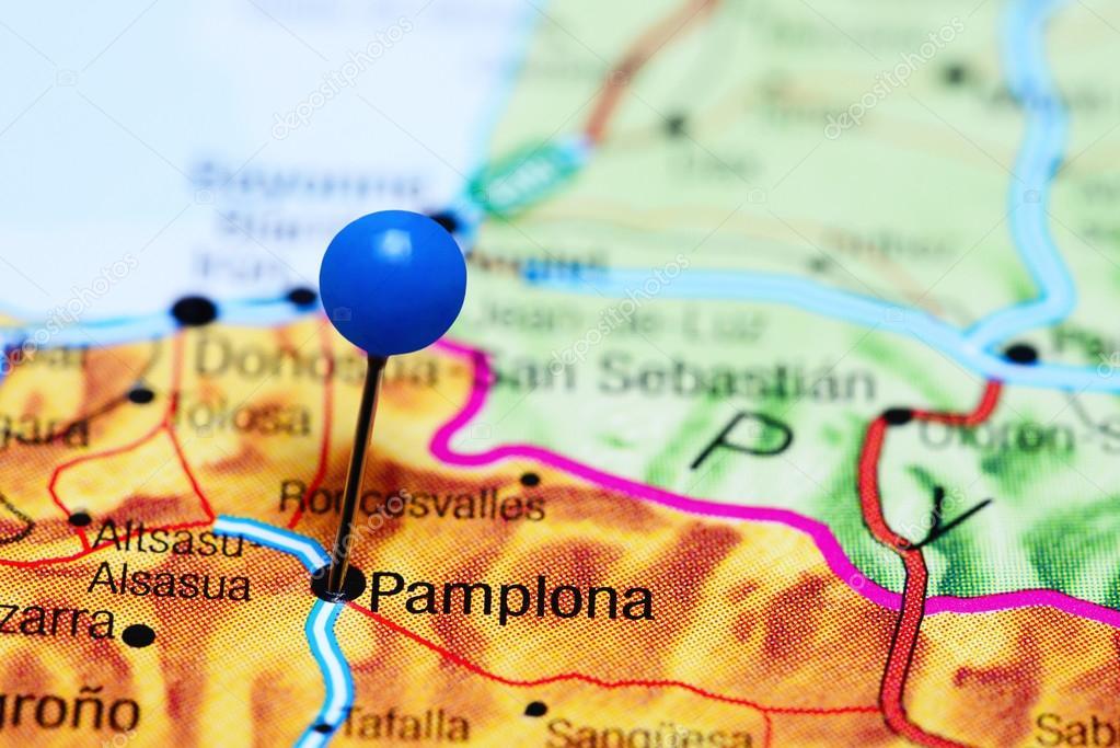 mapa de espanha pamplona Pamplona, fixado no mapa da Espanha — Stock Photo © dk_photos  mapa de espanha pamplona