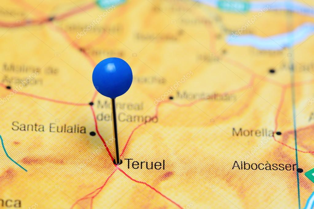 Teruel Spain Map.Teruel Pinned On A Map Of Spain Stock Photo C Dk Photos 114797126