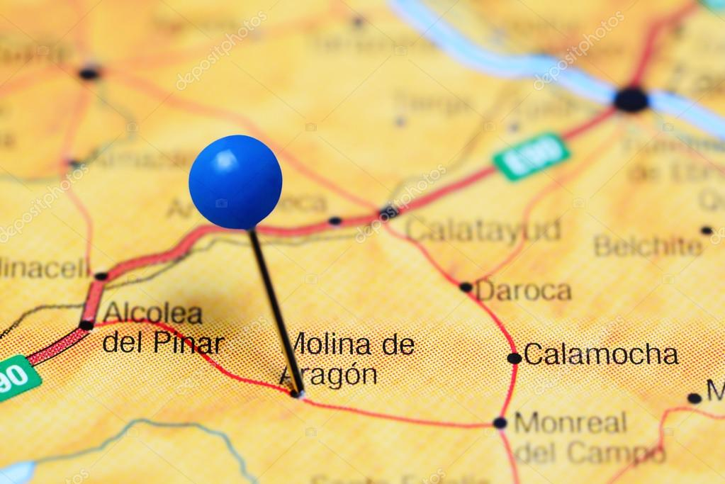 Molina De Aragon Pinned On A Map Of Spain Stock Photo