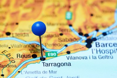 Tarragona pinned on a map of Spain