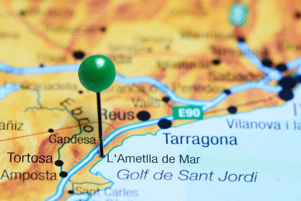 L Ametlla de Mar pinned on a map of Spain ⬇ Stock Photo, Image by ©  dk_photos #114927704