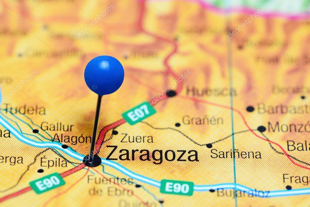 Zaragoza Pinned On A Map Of Spain Stock Photo C Dk Photos 114929134