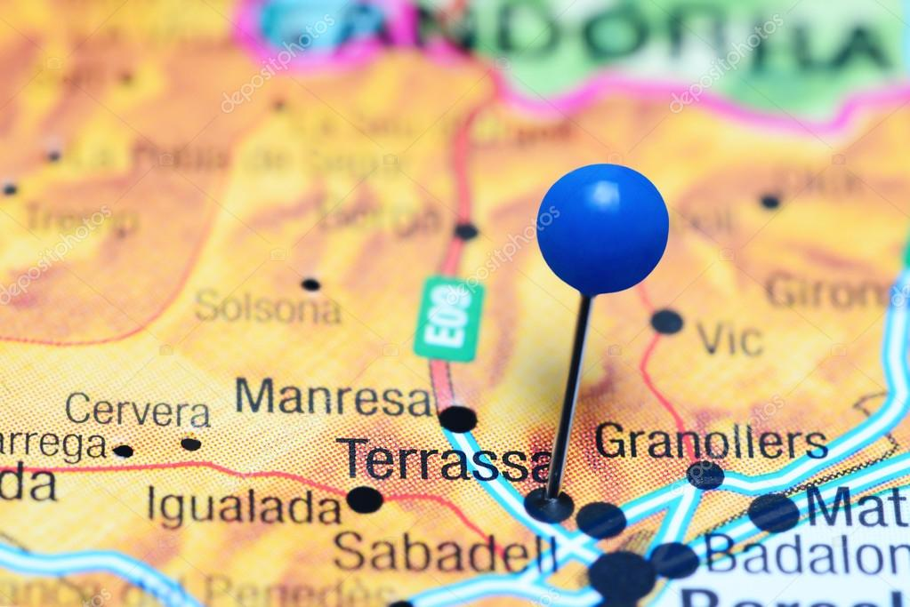 Terrassa Pinned On A Map Of Spain Stock Photo C Dk Photos 115087942