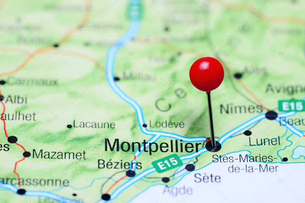 Montpellier Map Of France.Montpellier Pinned On A Map Of France Stock Photo C Dk Photos
