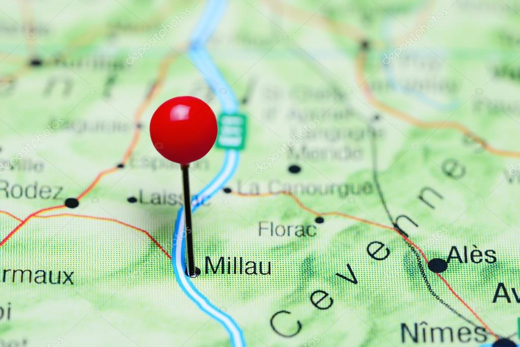 Millau Pinned On A Map Of France Stock Photo C Dk Photos 115754170