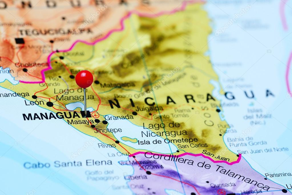 Managua pinned on a map of Nicaragua — Stock Photo ...