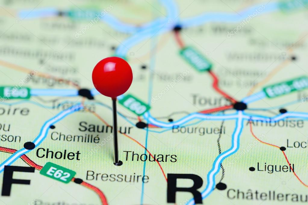 Thouars pinned on a map of France — Stock Photo © dk_photos ...
