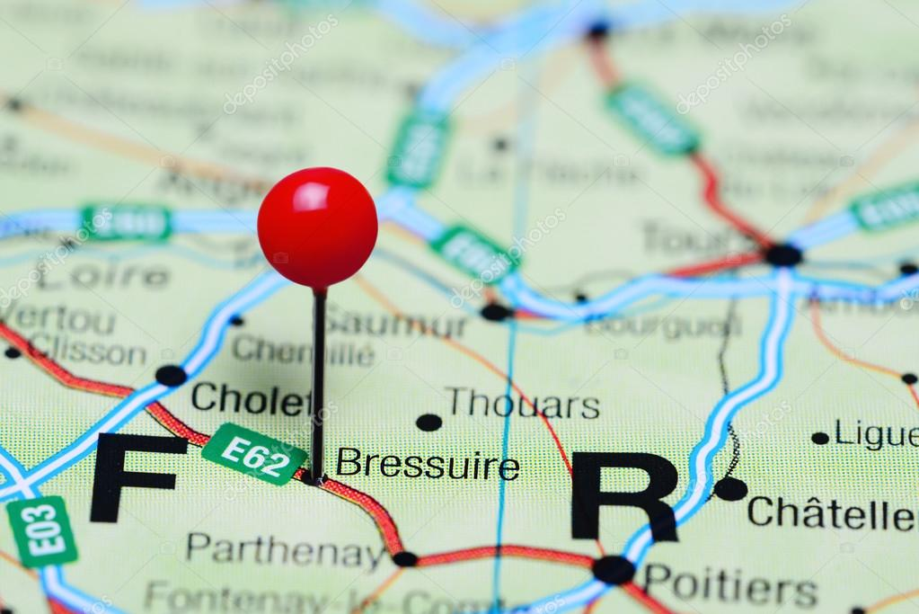 Bressuire pinned on a map of France — Stock Photo ...