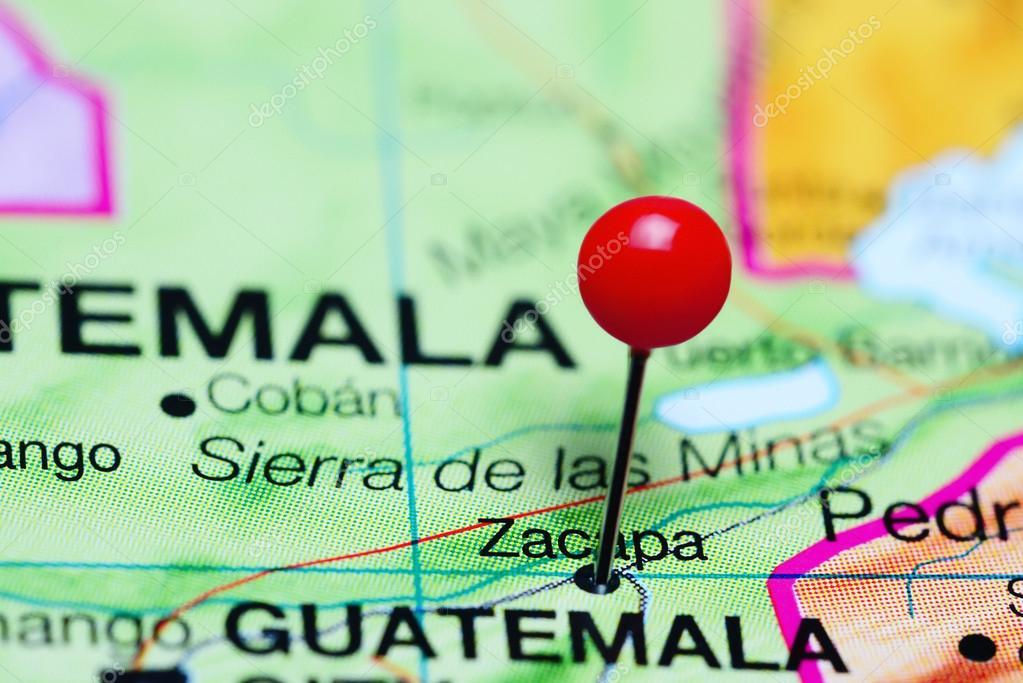 Zacapa pinned on a map of Guatemala Stock Photo dkphotos 116361494
