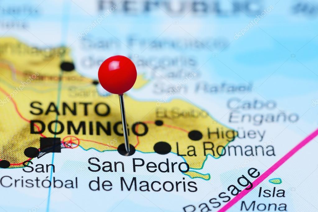 San Pedro De Macoris Pinned On A Map Of Dominican Republic Stock