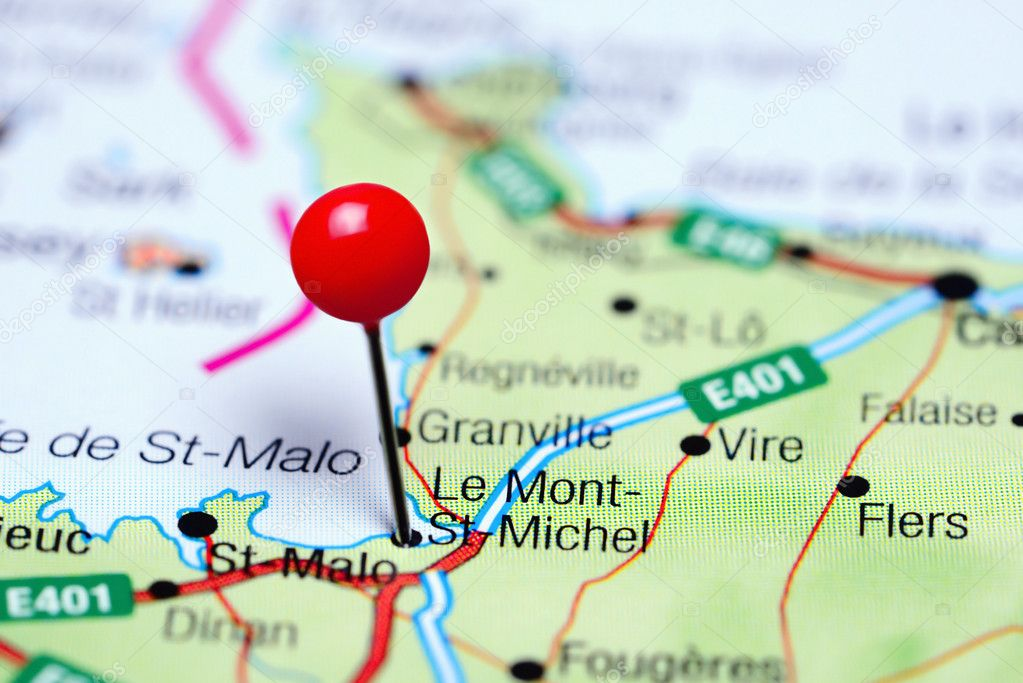 Le Mont St Michel Pinned On A Map Of France Stock Photo