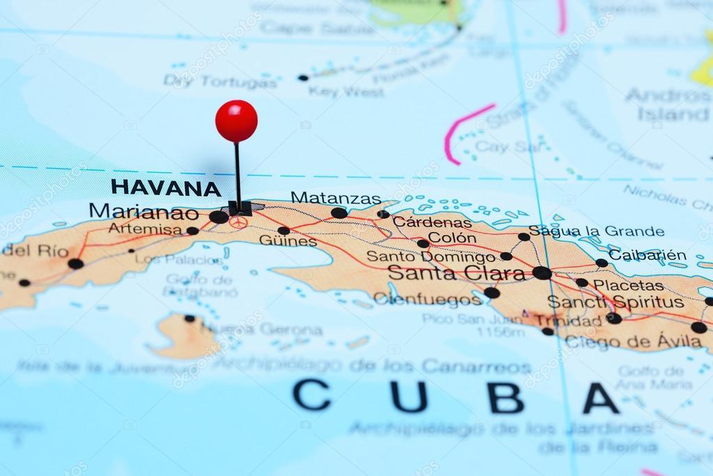 Havanna Kuba Karte.Havanna Fixiert Auf Einer Karte Von Kuba Stockfoto Dk Photos