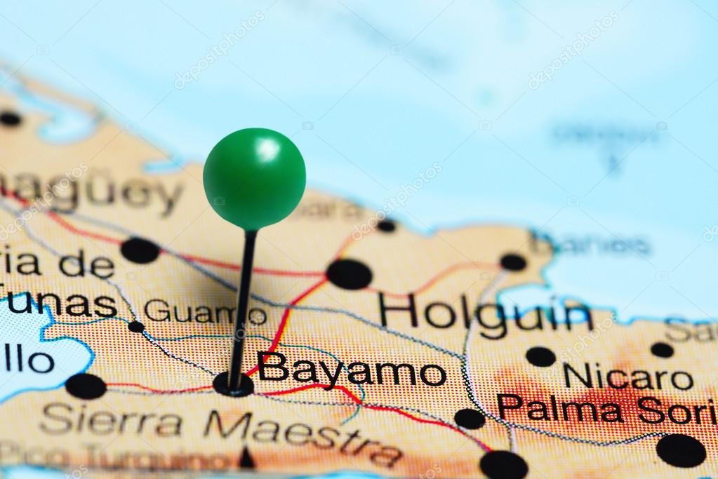 Bayamo pinned on a map of Cuba Stock Photo dkphotos 116704750
