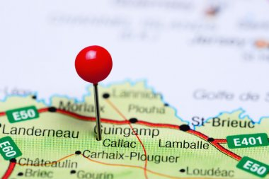 Callac pinned on a map of France