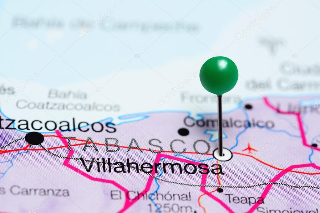 Villahermosa Pinned On A Map Of Mexico Stock Photo C Dk Photos