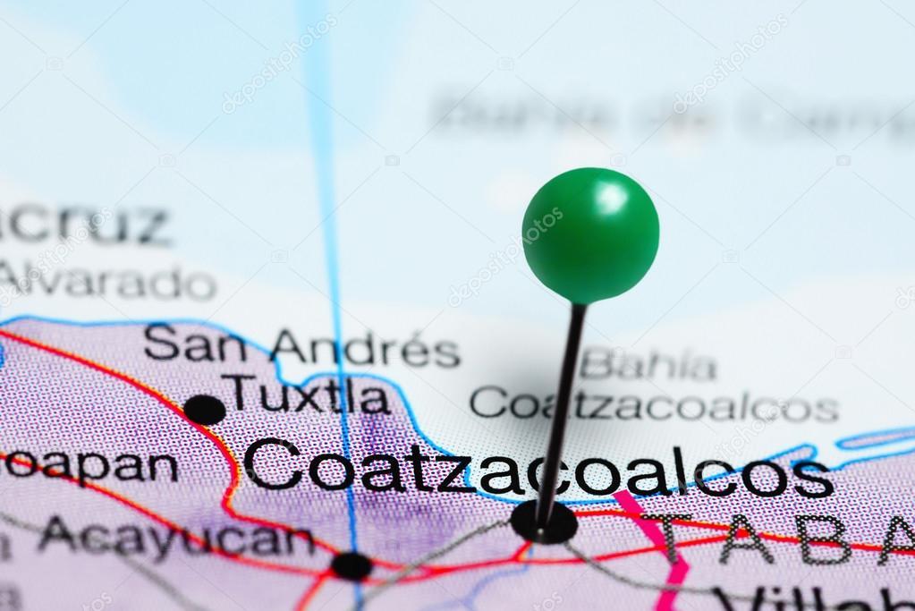 Coatzacoalcos pinned on a map of Mexico — Stock Photo © dk_photos