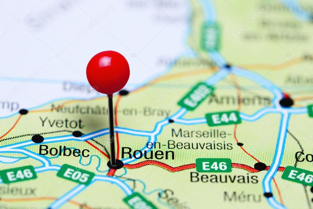 Map Of France Rouen.Rouen Pinned On A Map Of France Stock Photo C Dk Photos 117586200