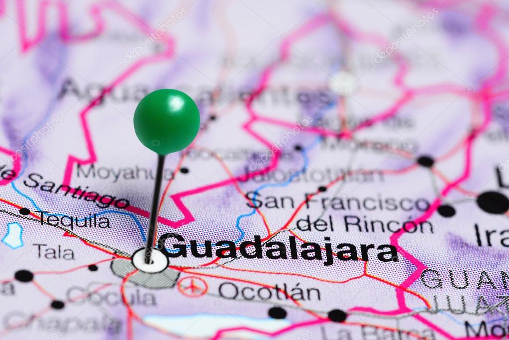 guadalajara pinned on a map of mexico stock photo