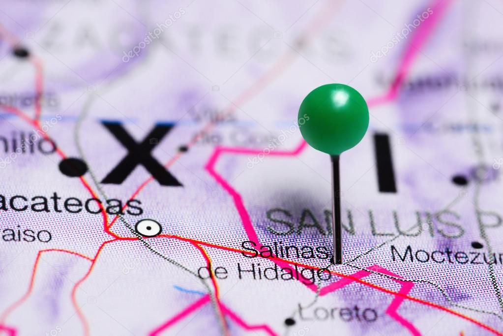 Salinas Mexico Map.Salinas De Hidalgo Pinned On A Map Of Mexico Stock Photo