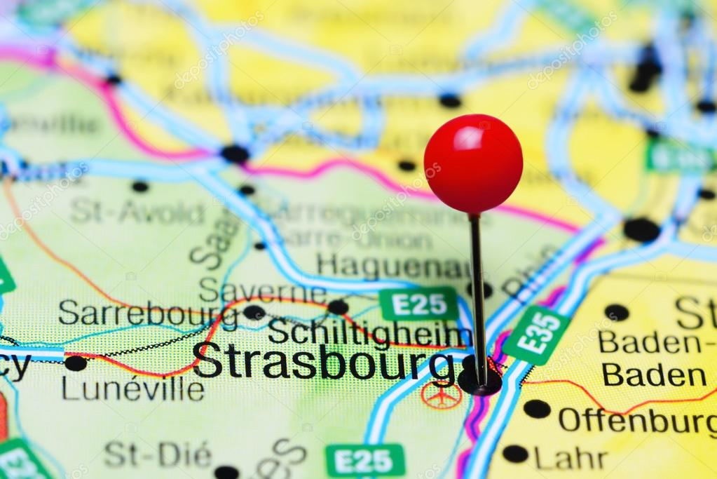 Strasbourg Pinned On A Map Of France Stock Photo C Dk Photos