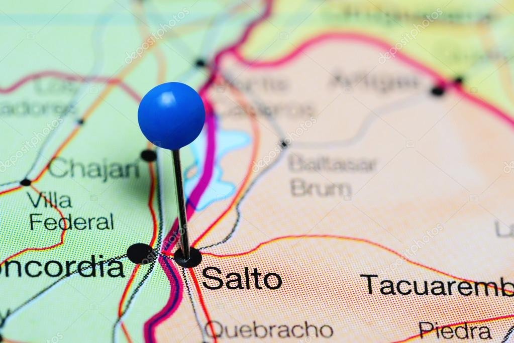 Salto pinned on a map of Uruguay Stock Photo dkphotos 118818642