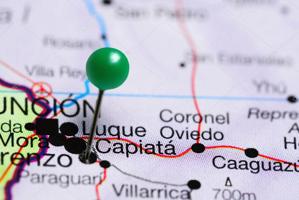 Capiata pinned on a map of Paraguay Stock Photo dkphotos 119175838