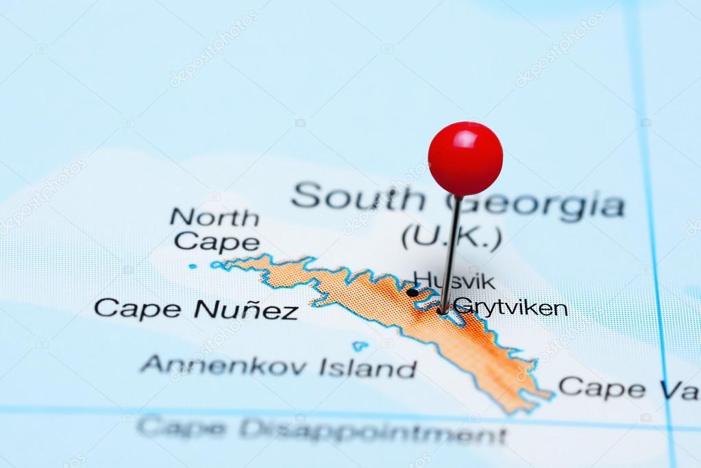 Georgia Del Sur Mapa.Grytviken En Un Mapa De Georgia Del Sur Fotos De Stock