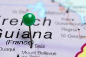 Saul pinned on a map of French Guiana