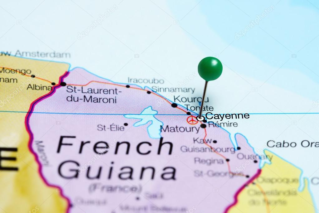 Cayenne pinned on a map of French Guiana Stock Photo dkphotos