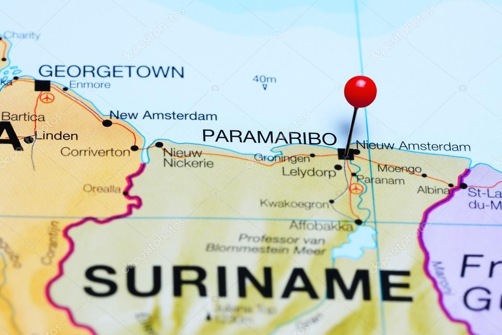 Paramaribo Pinned On A Map Of Suriname Stock Photo Dkphotos - paramaribo map
