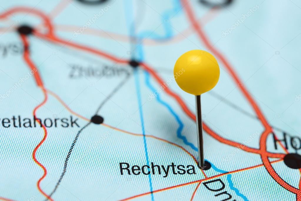 Rechytsa pinned on a map of Belarus Stock Photo dkphotos 119736222