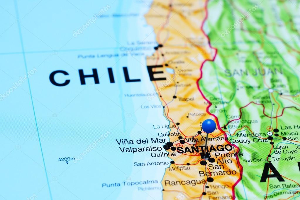 Foto Mapa De Chile Santiago Santiago En Un Mapa De Chile Foto